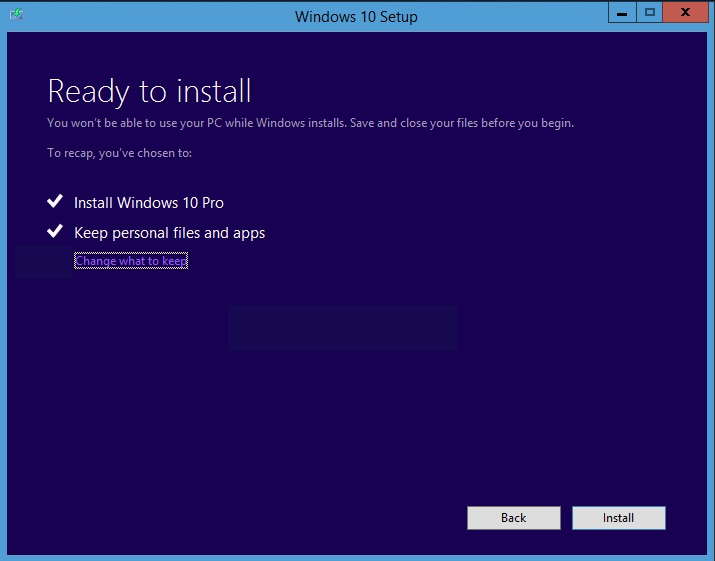 Windows 10 install Upgrade ready to install